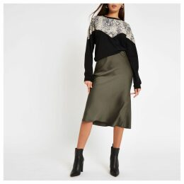 Womens Khaki bias cut midi skirt