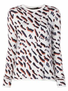 Derek Lam Abstract Animal Jacquard Fitted Sweater - White