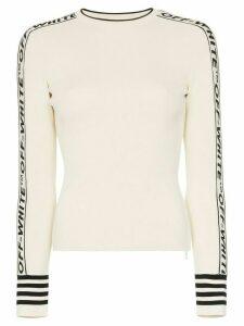 Off-White logo round neck knitted jumper