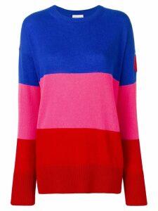 Moncler stripe logo patch cashmere jumper - 455 Blue Pink Red