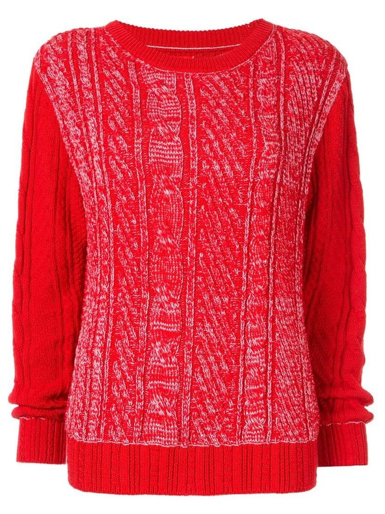 COOHEM Gradation cable knit jumper - Red