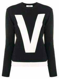 Valentino two-tone inlay logo jumper - Black