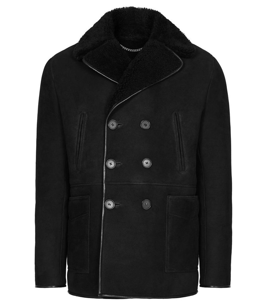 Reiss Codie - Shearling Double Breasted Coat in Black, Mens, Size XXL