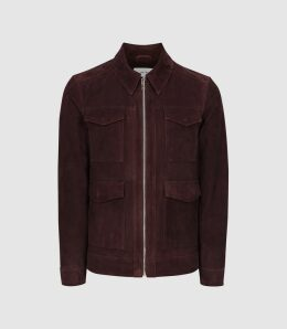 Reiss Ryton - Suede Bomber Jacket in Bordeaux, Mens, Size XXL