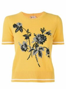 Nº21 floral-intarsia knitted top - Yellow