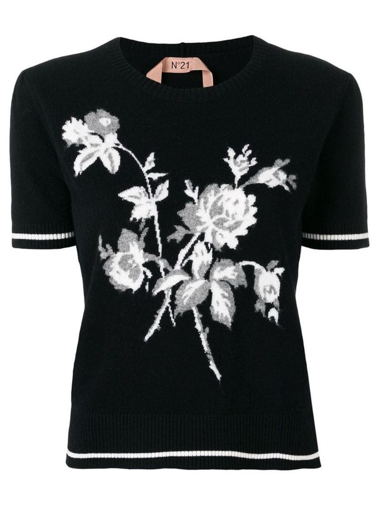 Nº21 floral-intarsia knitted top - Black