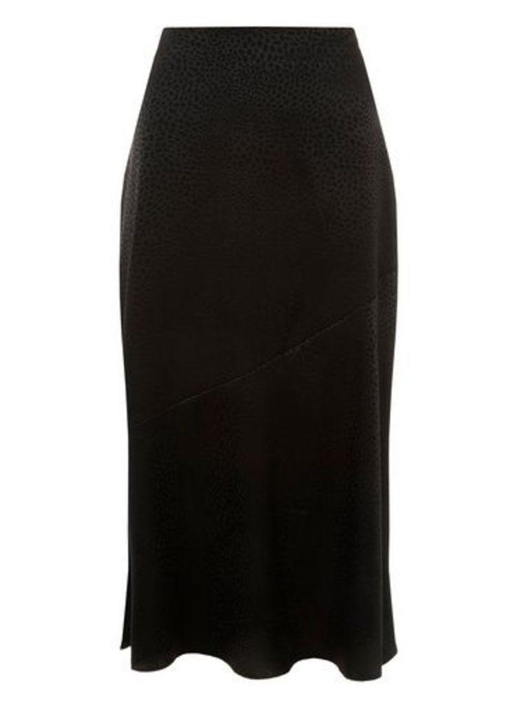 Womens Black Jacquard Hem Midi Skirt- Black, Black