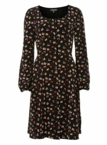 Womens **Tall Multi Coloured Ditsy Floral Print Skater Dress- Multi Colour, Multi Colour