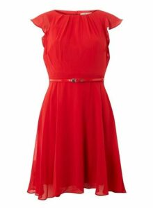 Womens **Billie & Blossom Petite Red Angel Sleeve Dress- Red, Red