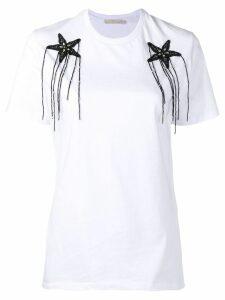 Amen appliqué flowers T-shirt - White