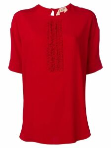 Nº21 ruffle panel T-shirt - Red