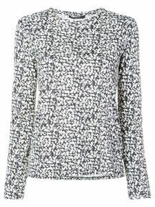 Derek Lam Poppy Print Cotton Jersey Long Sleeve Top - Black