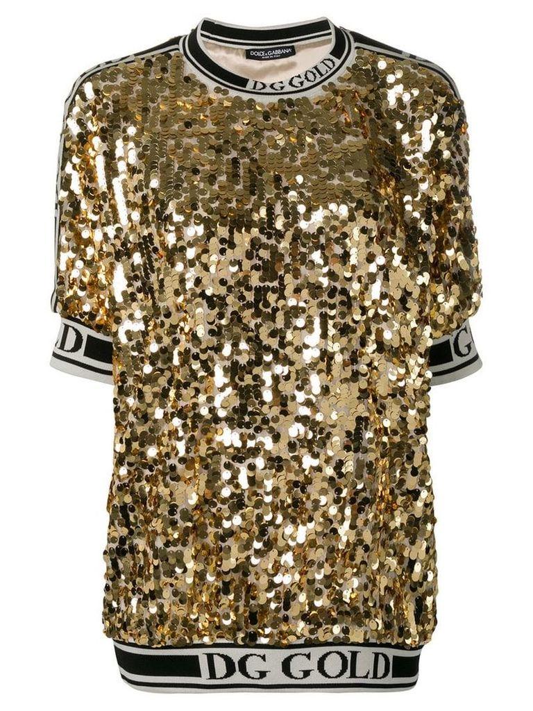 Dolce & Gabbana logo trim sequin T-shirt - Gold
