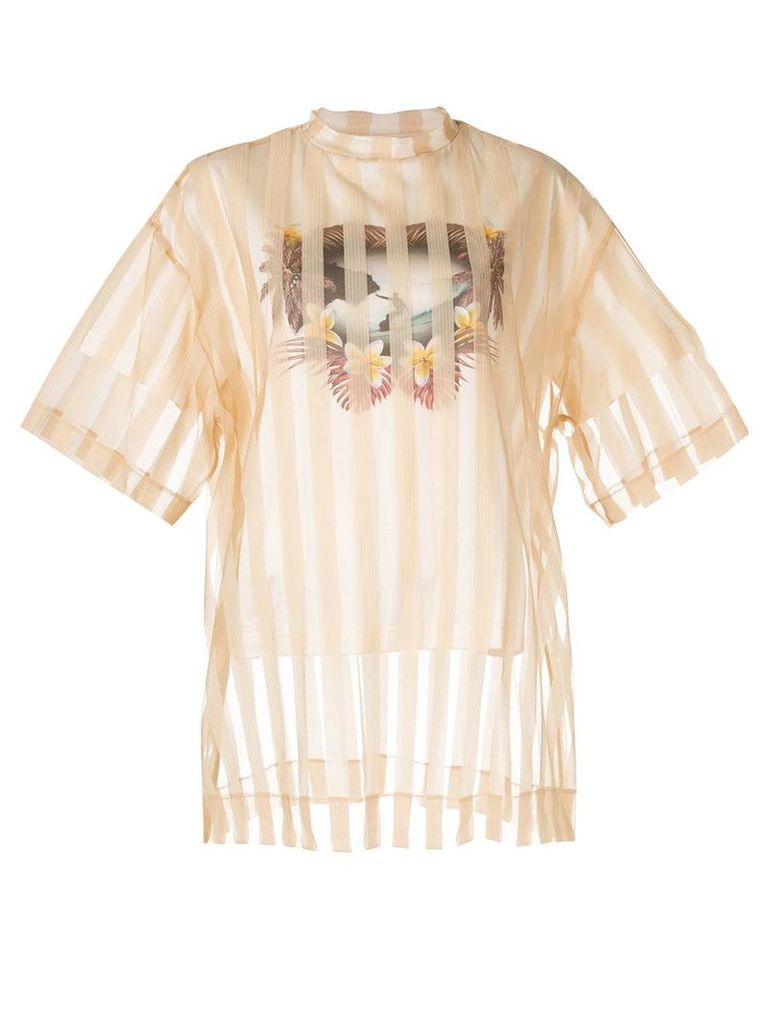 Maison Mihara Yasuhiro striped layered T-shirt - Brown