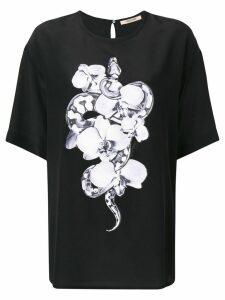 Roberto Cavalli round neck orchid T-shirt - Black