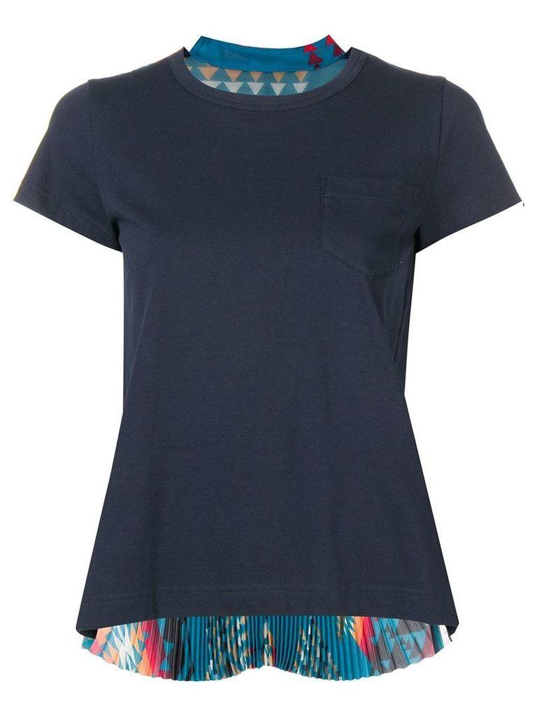 Sacai pleated Navajo print T-shirt - Blue