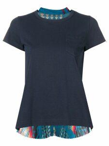 Sacai pleated Navajo-style print T-shirt - Blue