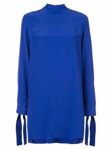 Derek Lam Long Sleeve Mock Neck Tunic - Blue