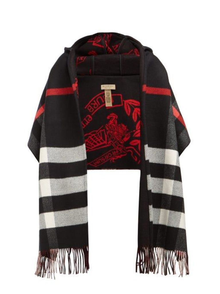 Burberry - St Helen Checked Wool And Cashmere Scarf - Womens - Black