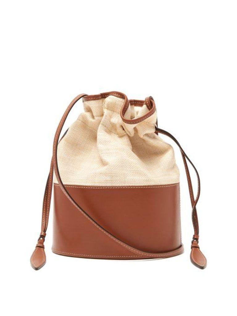 Hunting Season - Lola Raffia And Leather Shoulder Bag - Womens - Tan Multi
