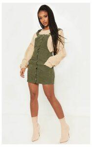 Khaki Cord Pinafore Dress, Green