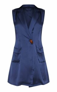 Navy Satin Sleeveless Blazer Dress, Blue