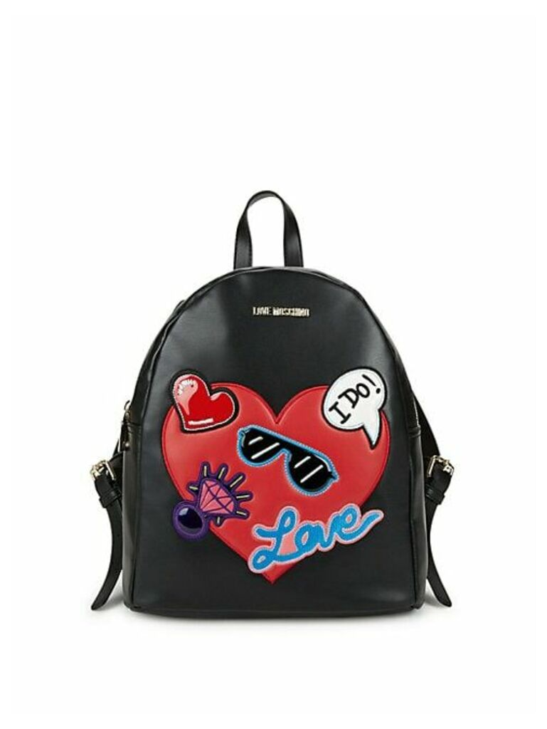 Patch Faux Leather Backpack