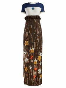 Prada - Sequinned Silk Chiffon Gown - Womens - Brown Multi