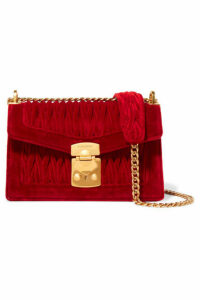 Miu Miu - Confidential Matelassé Velvet Shoulder Bag - Red
