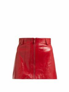 Miu Miu - Crackled Leather Mini Skirt - Womens - Red