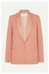 Victoria, Victoria Beckham - Satin-trimmed Wool-twill Blazer - Peach
