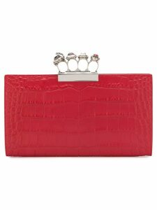 Alexander McQueen Skull Four-ring Flat clutch - Red