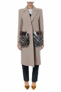 Fendi Powder Wool Coat With Fur Detail