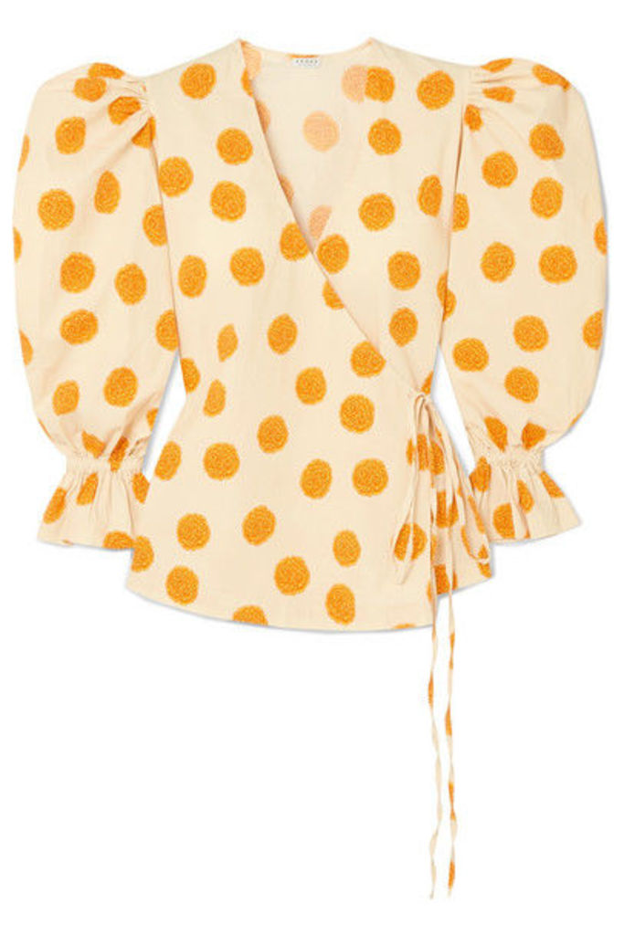 Rhode - Valentina Printed Cotton-blend Voile Wrap Top - Marigold