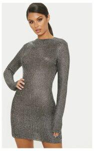 Silver Chunky Ribbed Metallic Dress, Grey