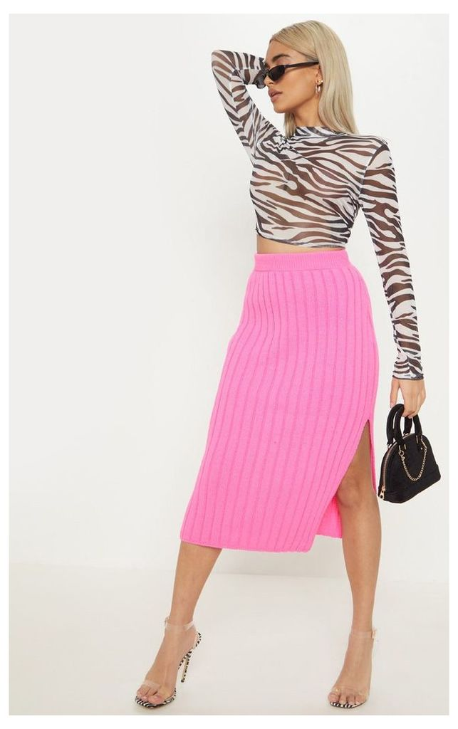 Petite Hot Pink Knitted Ribbed Midi Skirt, Hot Pink