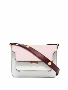 Marni pink, white and red trunk bicolour small leather shoulder bag