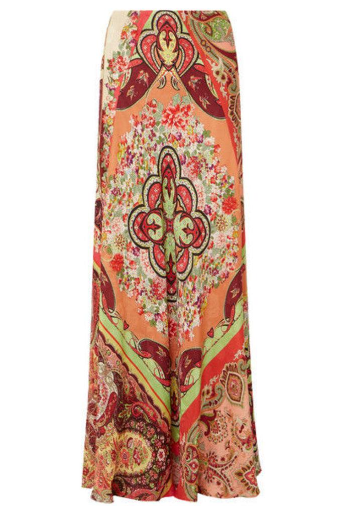 Etro - Printed Satin-jacquard Maxi Skirt - Coral
