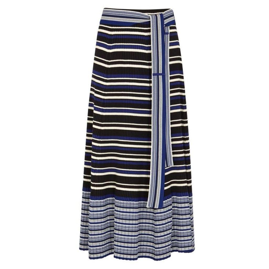 3.1 Phillip Lim Striped Stretch-knit Jersey Midi Skirt