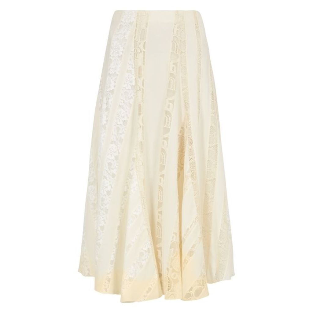 Chloé Ivory Lace-trimmed Silk Skirt