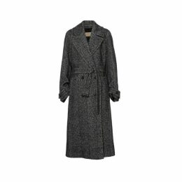 Burberry Herringbone Wool Silk Blend Double-breasted Coat