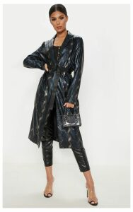Black Snake Print PU Trench, Black