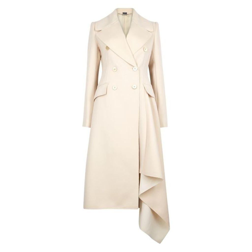 Alexander McQueen Porcelain Draped Wool-blend Coat