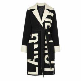 Helmut Lang Black Logo-intarsia Wool Coat