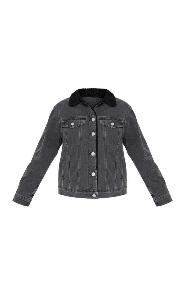 Charcoal Faux Fur Trim Denim Jacket, Charcoal Grey