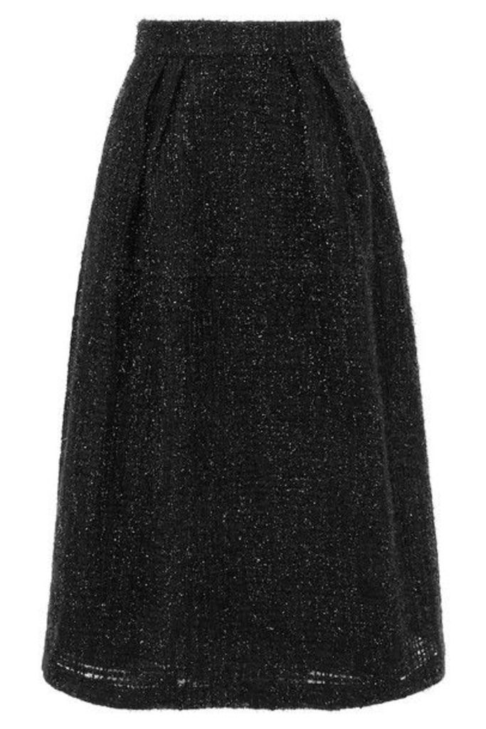 Co - Metallic Tweed Midi Skirt - Black