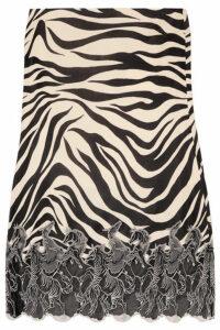 Chloé - Lace-trimmed Zebra-print Satin Midi Skirt - Zebra print