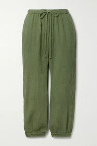Marni - Pleated Striped Crepe De Chine Skirt - Pastel pink