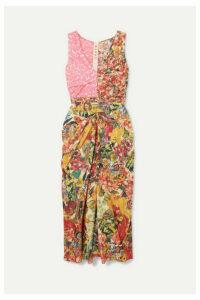 Marni - Ruched Floral-print Cotton-poplin Midi Dress - Pink