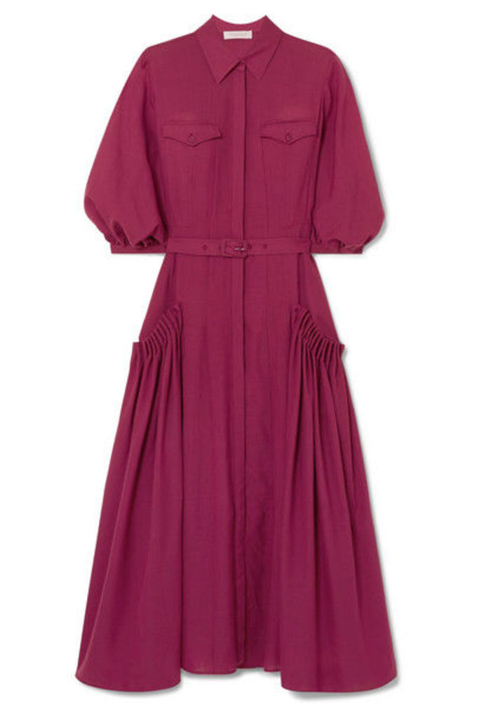 Gabriela Hearst - Woodward Belted Gathered Wool And Cashmere-blend Midi Dress - Plum